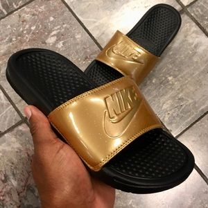 fd14d5d61e8 Nike Shoes - WMNS GOLD NIKE BENASSI SLIDES JUST DO IT BLACK